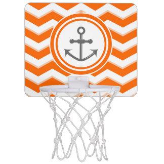 オレンジシェブロンのジグザグパターンのいかりのスマイル ミニバスケットボールゴール