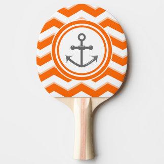 オレンジシェブロンのジグザグパターンのいかりのスマイル 卓球ラケット