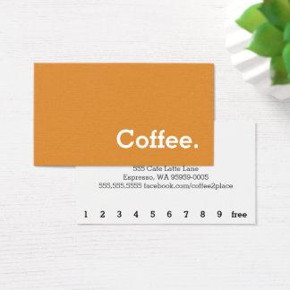 オレンジシンプルな単語の暗いロイヤリティのコーヒーパンチカード 名刺
