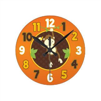 オレンジジャングルサファリ猿の柱時計 ラウンド壁時計