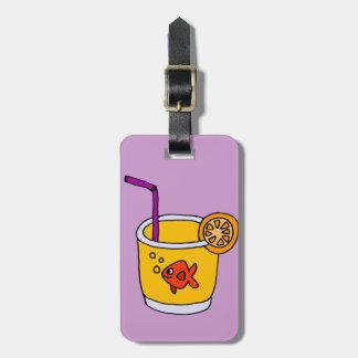 オレンジジュースガラスのおもしろいな金魚 ラゲッジタグ