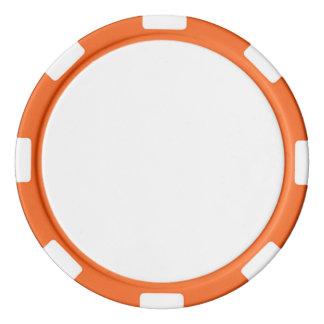 オレンジストライプのな端が付いているポーカー用のチップ ポーカーチップ