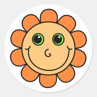 オレンジスマイリーフェイスの花 ラウンドシール