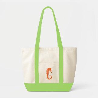 オレンジタツノオトシゴが付いている緑の戦闘状況表示板 トートバッグ