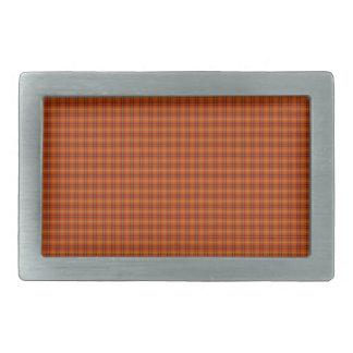 オレンジタータンチェックのベルトの留め金 長方形ベルトバックル