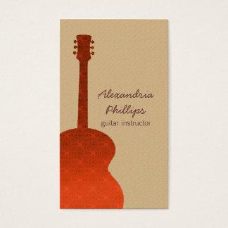 オレンジダマスク織のギターの音楽業界カード 名刺