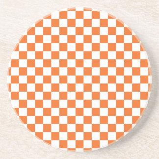 オレンジチェッカーボード コースター