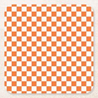オレンジチェッカーボード スクエアペーパーコースター