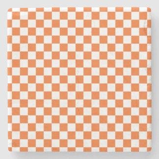 オレンジチェッカーボード ストーンコースター
