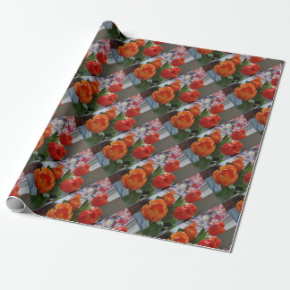 オレンジチューリップおよびステンドグラスの包装紙 ラッピングペーパー