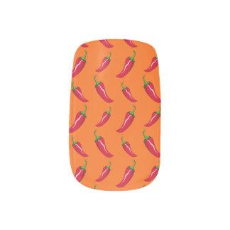 オレンジチリペッパーパターン ネイルデコレーション