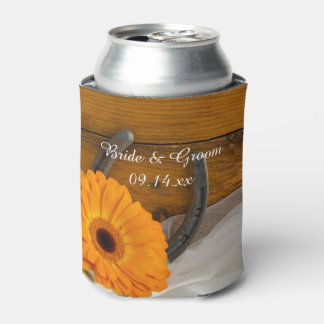 オレンジデイジーおよび蹄鉄の西部の結婚式の引き出物 缶クーラー