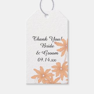 オレンジデイジーの結婚式の引き出物のラベル ギフトタグ