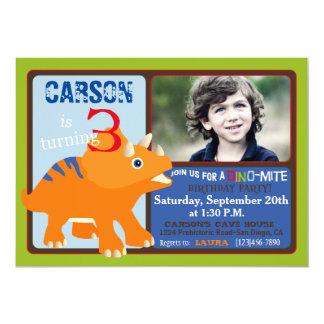 オレンジトリケラトプスの恐竜の第3誕生日 カード