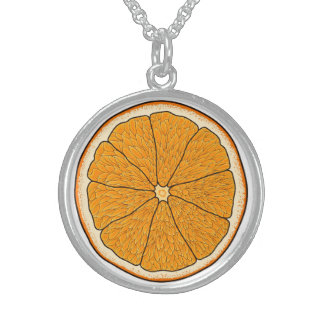 オレンジネックレス スターリングシルバーネックレス