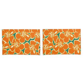 オレンジハイビスカスによっては熱帯ハワイの装飾が開花します 枕カバー