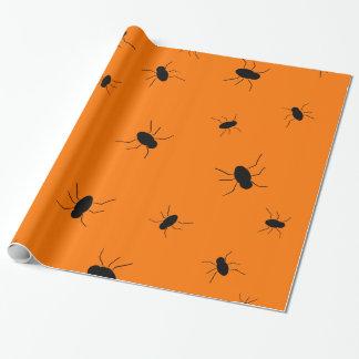 オレンジハロウィンの気味悪い虫 ラッピングペーパー