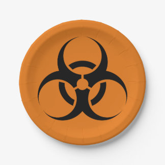"""オレンジハロウィンの生物学的災害[有害物質]の記号及び黒7"""" ペーパープレート"""