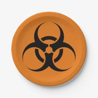 """オレンジハロウィンの生物学的災害[有害物質]の記号及び黒7"""" ペーパープレート スモール"""