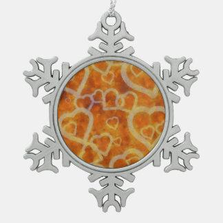 オレンジハートのテンプレートの質 スノーフレークピューターオーナメント