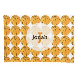 オレンジバスケットボールパターン名前入りでユニークな子供 枕カバー