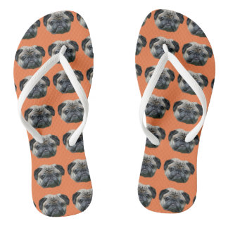 オレンジパグ犬のビーチサンダル ビーチサンダル
