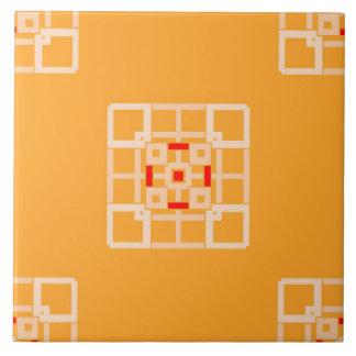 オレンジパターンのセラミックタイルのモモそして赤 タイル