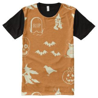 オレンジパターンハロウィン オールオーバープリントT シャツ