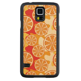 オレンジパターン CarvedメープルGalaxy S5スリムケース