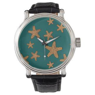 オレンジヒトデパターン 腕時計