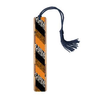 オレンジヒョウおよびシマウマのカスタムのアニマルプリント ブックマーク