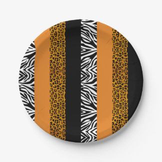 オレンジヒョウおよびシマウマのカスタムのアニマルプリント ペーパープレート