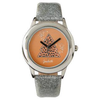 オレンジヒョウのチータのクリスマスツリー 腕時計