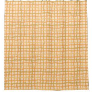 オレンジビーチの日没のギンガムのシャワー・カーテン シャワーカーテン