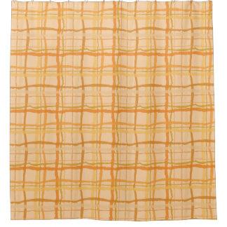 オレンジビーチの日没の格子縞のシャワー・カーテン シャワーカーテン