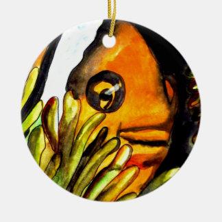 オレンジピエロの魚の水彩画の元の芸術の絵画 セラミックオーナメント