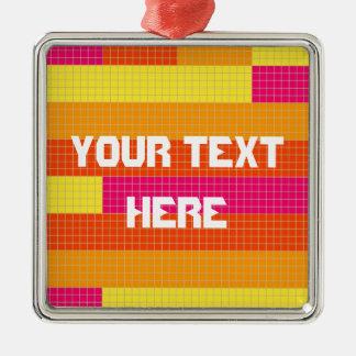 オレンジピンクの黄色いピクセルパターン メタルオーナメント