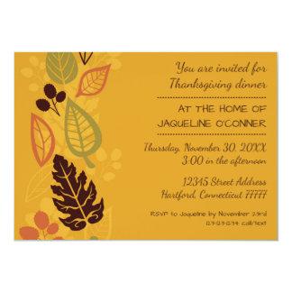 オレンジフォーマルな葉-感謝祭の夕食の招待 12.7 X 17.8 インビテーションカード