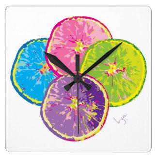 オレンジフルーツはポップアートをスライスします スクエア壁時計