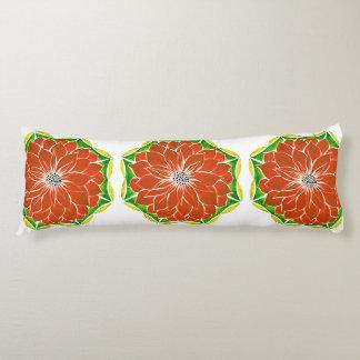 オレンジポインセチアのデザイン ボディピロー