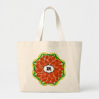 オレンジポインセチアのデザイン ラージトートバッグ