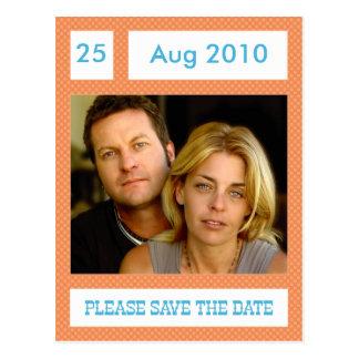 オレンジポルカのブロックの写真の保存日付の郵便はがき ポストカード