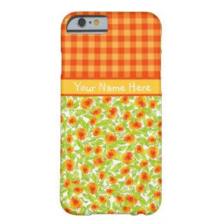 オレンジマリーゴールドおよび点検のギンガムのiPhone 6の箱 Barely There iPhone 6 ケース