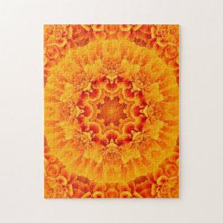 オレンジマリーゴールドの曼荼羅のパズル ジグソーパズル