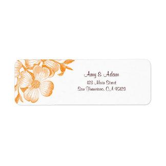 オレンジミズキの花の宛名ラベル ラベル