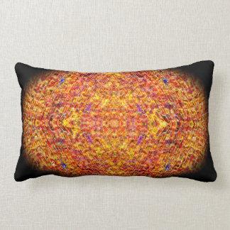 オレンジモザイク楕円形の曼荼羅の枕 ランバークッション