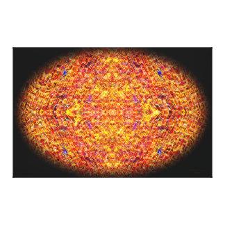 オレンジモザイク楕円形の曼荼羅 キャンバスプリント