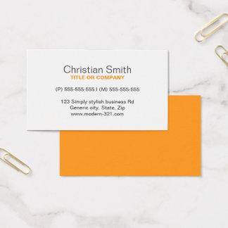 オレンジモダンで一般的でシンプルでエレガントな個人的 名刺