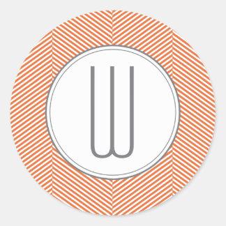 オレンジモノグラムのヘリンボンステッカー ラウンドシール