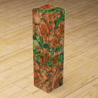 オレンジモモの緑の花の抽象芸術 ワインギフトボックス
